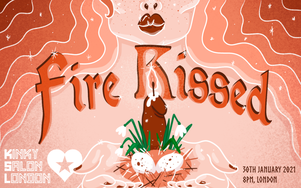 """Fire Kissed"" shows picture of candle, eggs and a womans lips"